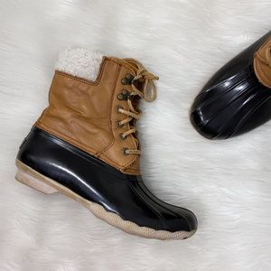 Sperry Tan Leather Sherpa Duck Boots Ankle Booties